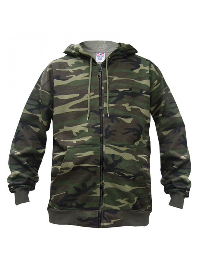 Army Camouflage SnS Zip Up Hooded Sweatshirt