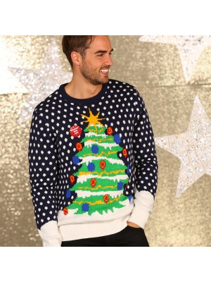 3D Christmas tree knitted jumper with lights ugly Christmas jumper
