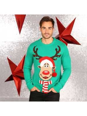 3D Rudolph knitted jumper with lights ugly Christmas jumper