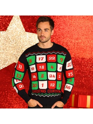 3D Advent calendar knitted jumper with pockets Christmas jumper