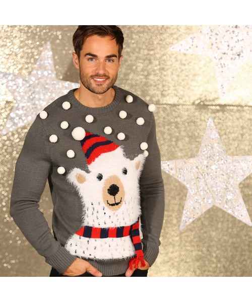 3D Polar bear knitted jumper with pom poms Christmas jumper