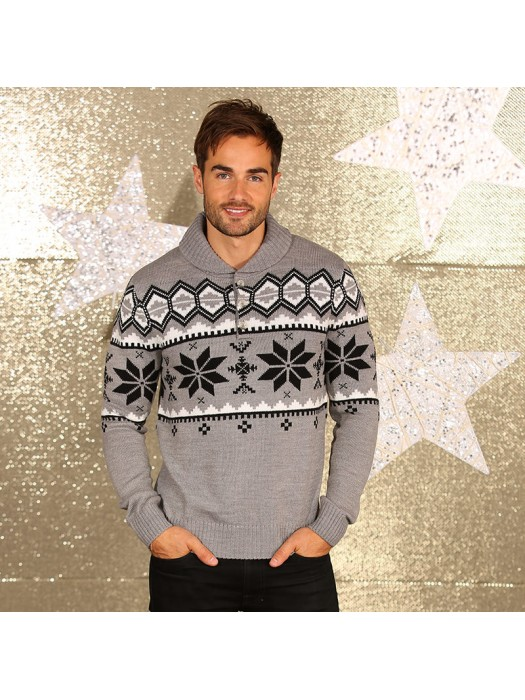 Men's shawl collar knitted Christmas jumper