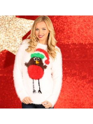Women's robin eyelash yarn knitted Christmas jumper