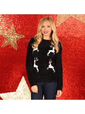 Women's reindeer eyelash yarn knitted christmas jumper