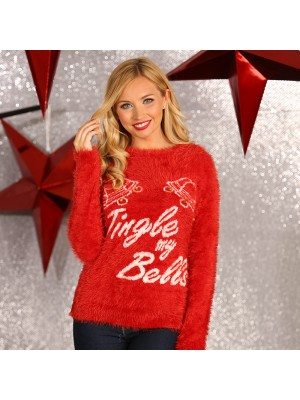 "Women's 3D ""jingle my bells"" knitted Christmas Jumper"