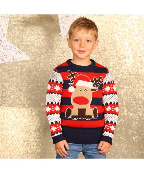 Boys reindeer stripe knitted Christmas jumper