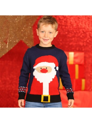 Boys Rudolph Santa knitted Christmas jumper