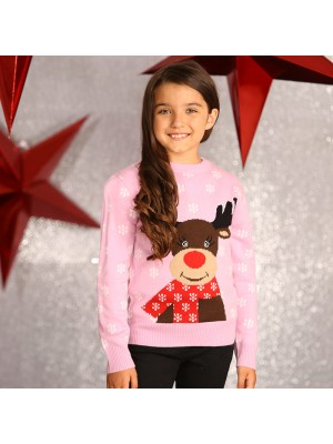 Girls Reindeer knitted Christmas jumper