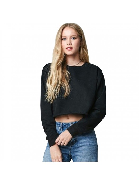 Black SNS cropped sweatshirt with raw edges