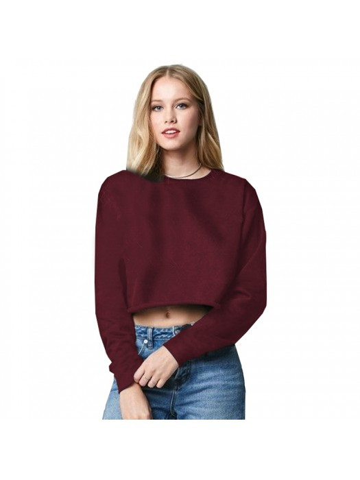 Burgundy SNS cropped sweatshirt with raw edges