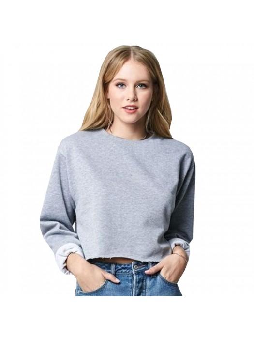Heather Grey SNS cropped sweatshirt with raw edges