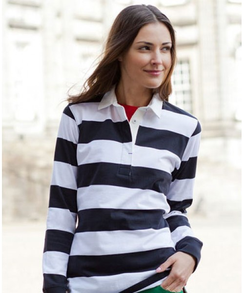 Front Row womens Striped rugby long sleeve tee