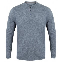 Plain WASHED LONG SLEEVE HENLEY T-SHIRT FRONT ROW 180 GSM