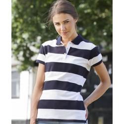 Front Row Ladies Striped Pique Polo