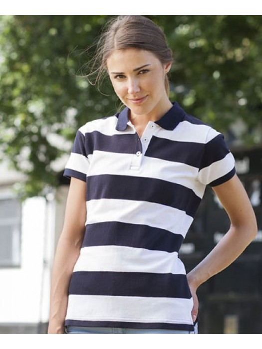 Front Row Ladies Striped Pique Polo