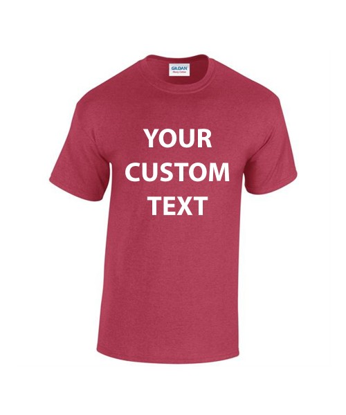 Personalised T Shirt Heavy Cotton Gildan White 175gsm, Colours 185gsm with custom design printed