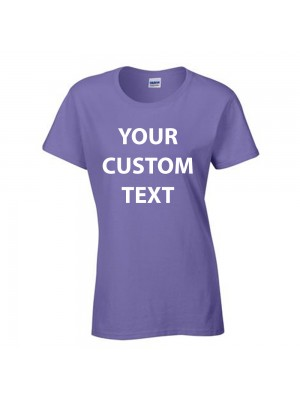 Personalised T Shirt Ladies Heavy Cotton Gildan White 175gsm, Colours 185gsm with custom design printed
