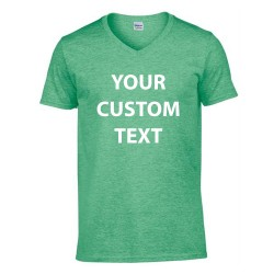 Personalised T Shirt SoftStyle V Neck Gildan White 141gsm, Colours 150gsm with custom design printed
