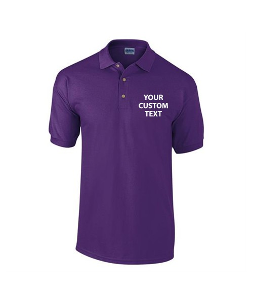 Personalised Polo Shirts Ultra Cotton Pique Gildan White 211gsm, Colours 220gsm with custom text Embroidery or logo
