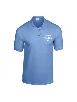 Personalised Polo Shirts DryBlend Jersey Gildan White 185gsm, Colours 190gsm with custom text Embroidery or logo