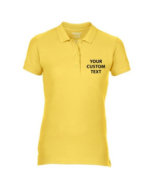 Personalised Polo Shirts Ladies Premium Cotton Double Pique Gildan White 211gsm, Colours 220gsm with custom text Embroidery or logo