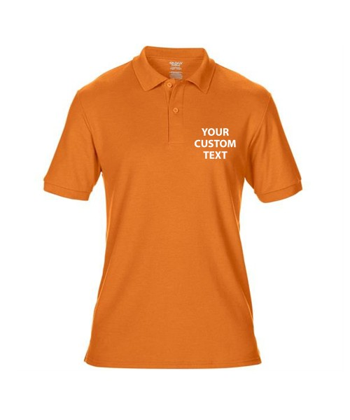 Personalised Polo Shirts DryBlend Double Pique Gildan White 200gsm, Colours 207gsm with custom text Embroidery or logo