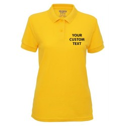 Personalised Polo Shirts Ladies DryBlend Double Pique Gildan White 200gsm, Colours 207gsm with custom text Embroidery or logo