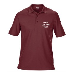 Personalised Polo Shirts Performance Double Pique Gildan 190gsm with custom text Embroidery or logo
