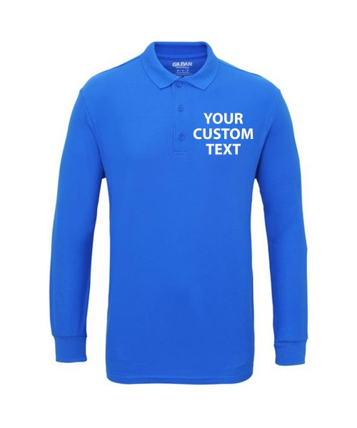 Personalised Polo Shirts Long Sleeve Premium Cotton Double Pique Gildan White 211gsm, Colours 220gsm with custom text Embroidery or logo