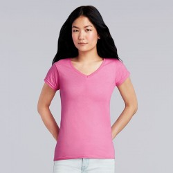 Personalised T Shirt SoftStyle Ladies V Neck Gildan White 141gsm, Colours 150gsm with custom design printed