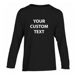 Personalised T Shirt Kids Performance Long Sleeve Gildan White 145gsm, Colours 153gsm  with custom design printed