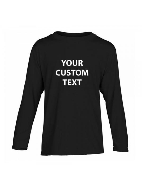 Personalised T Shirt Kids Performance Long Sleeve Gildan