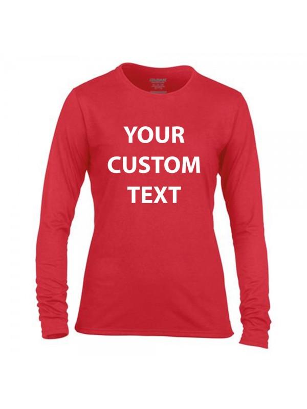 Personalised T Shirt Ladies Performance Long Sleeve Gildan