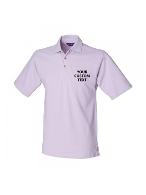 Personalised Polo Shirt Classic Heavy Pique Henbury 225gsm with custom text Embroidery or logo