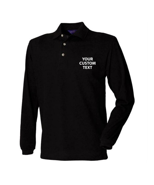 Personalised Polo Shirts Long Sleeve Classic Pique Henbury 225gsm with custom text Embroidery or logo