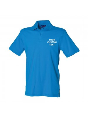 Personalised Polo Shirt Stretch Pique Henbury 200gsm with custom text Embroidery or logo