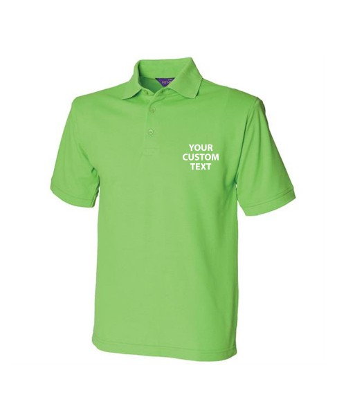 Personalised Polo Shirt Heavy Pique Henbury 200gsm with custom text Embroidery or logo