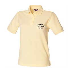 Personalised Polo Shirts Ladies Pique Henbury 200gsm with custom text Embroidery or logo