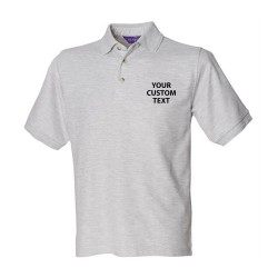 Personalised Polo Shirt Ultimate Heavy Pique Henbury 250gsm with custom text Embroidery or logo