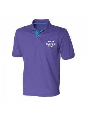 Personalised Polo Shirts Contrast 65/35 Pique Henbury 200gsm with custom text Embroidery or logo