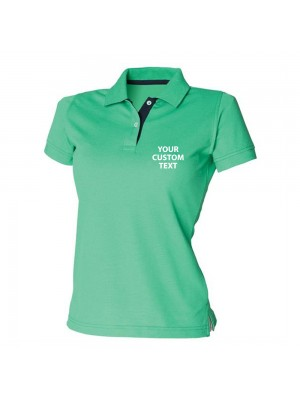 Personalised Polo Shirts Ladies Contrast 65/35 Pique Henbury 200gsm with custom text Embroidery or logo