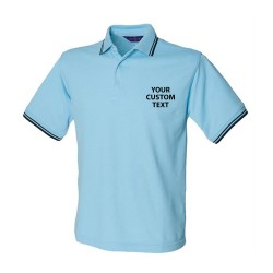 Personalised Polo Shirts Contrast Tipped Pique Henbury 200gsm  with custom text Embroidery or logo