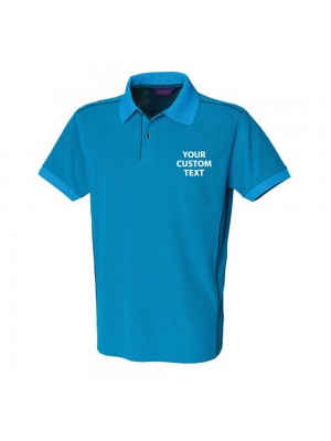 Personalised Polo Shirts Coolplus Piped Henbury 180gsm with custom text Embroidery or logo