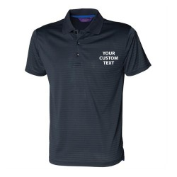 Personalised Polo Shirts Cooltouch Textured Stripe Henbury 180gsm with custom text Embroidery or logo