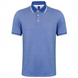 Personalised Polo Shirts Two-Tone Tipped Pique Henbury 200 with custom text Embroidery or logo