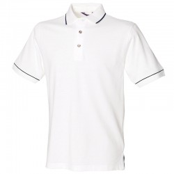 Personalised Polo Shirt Contrast Single Tipped Pique Henbury 225gsm with custom text Embroidery or logo