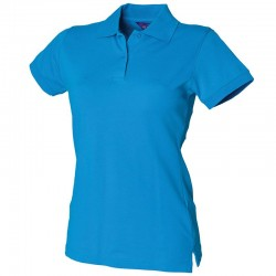 Personalised Polo Shirt Ladies Stretch Pique Henbury 200gsm with custom text Embroidery or logo