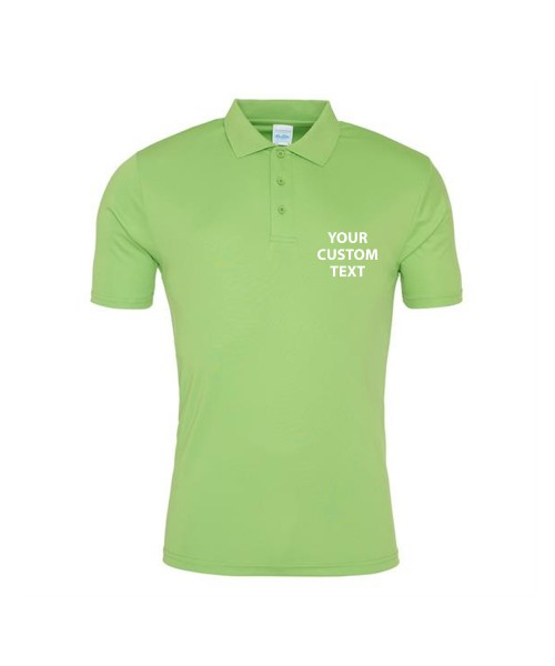 Personalised Polo Shirts Smooth AWDis Just Cool 145gsm with custom text Embroidery or logo