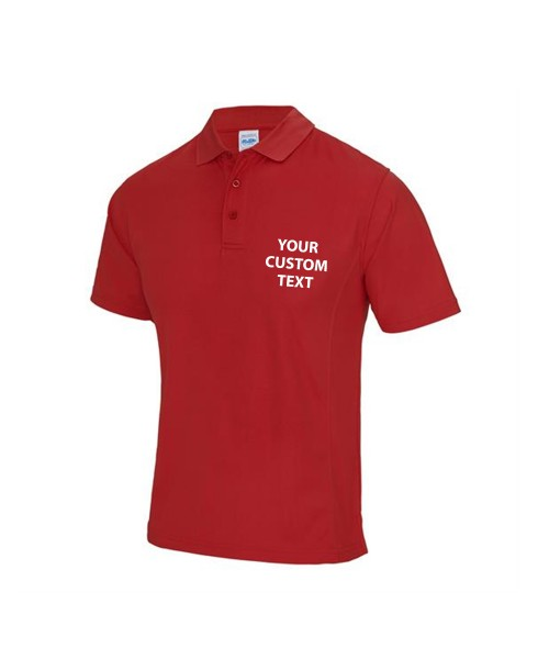 Personalised Polo Shirts SuperCool Performance AWDis Just Cool 170gsm with custom text Embroidery or logo