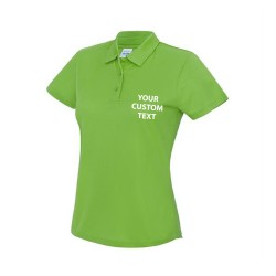 Personalised Polo Shirts AWDis Girlie Cool 145gsm with custom text Embroidery or logo